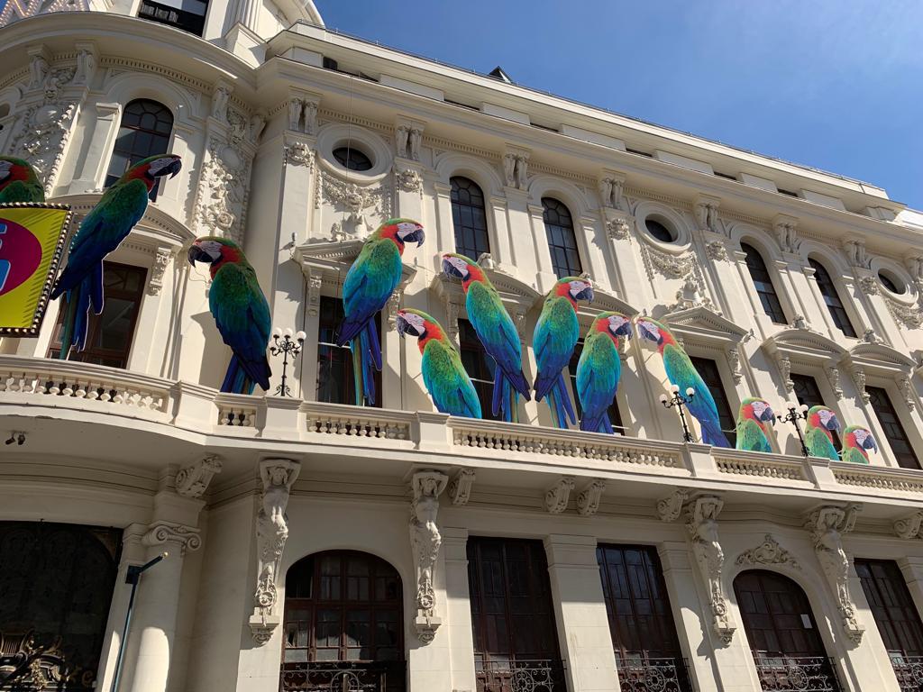 Montaje con loros en la fachada del Teatro Calderón